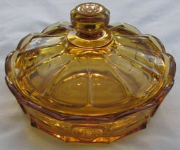 "Lancaster Colony / Fostoria Glass Amber Coin Covered Candy Dish Bowl 8"" ... - $55.78"