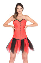 Red Satin Double Bone Goth Burlesque Bustier Net Tutu Skirt Overbust Cor... - $80.88