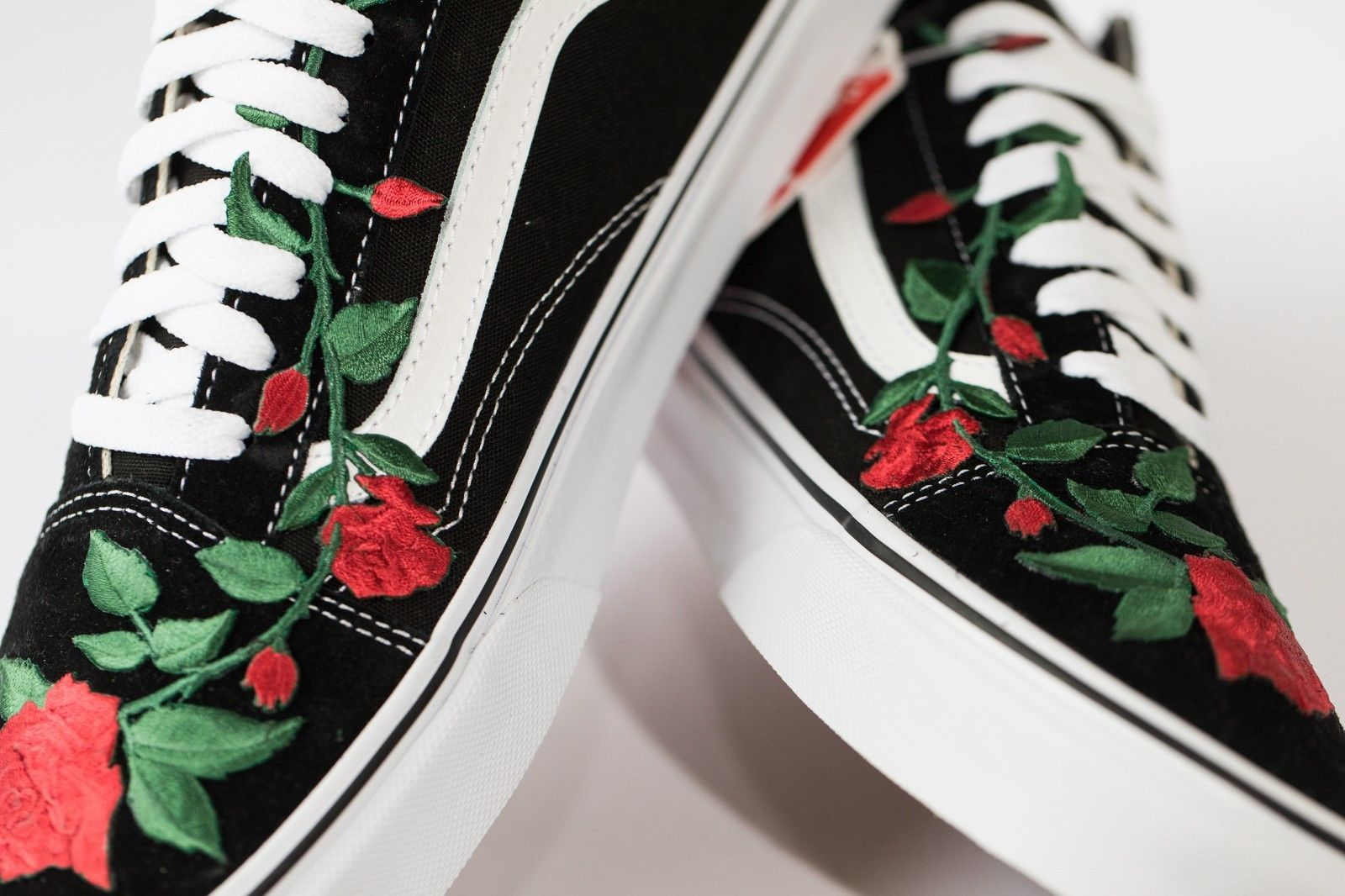 Vans Rose embroidered customs available in all sizes black and white
