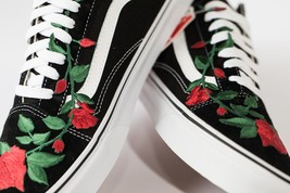 Vans Rose embroidered customs available in all sizes black and white image 1