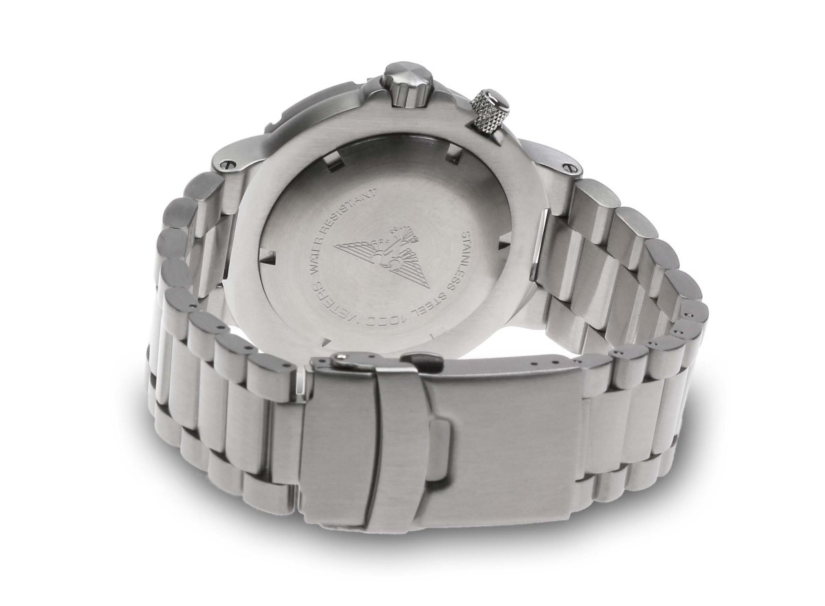 Professional German Diving Watch 100 ATM Helium Valve Seiko VX43e Steel Bracelet