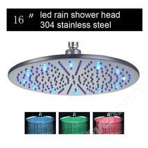 Cascada 16 Inch Ceiling Mount Round Rainfall LED Shower Head, Stainless Steel (i - $257.35