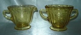 FEDERAL GLASS Amber DEPRESSION Madrid Pattern Footed Creamer & Sugar - $14.60