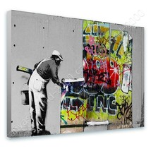 Boy With Dance Mat by BanksyCanvas Wall art HD painting artwork Rolled
