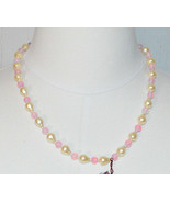 MARVELLA Faux Pearl Pink Glass Bead Beaded Gold Tone Choker Necklace Vin... - $19.80