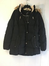 ANA Women's Fluffy Jacket with Hoodie Black Medium # J430 - $69.99