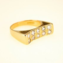 18k Gold Mens diamond Pinky Ring UK Size M1/2 BHS - $1,025.87