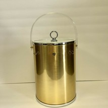 Vintage Barware Tall Gold Silver Lucite Ice Bucket W/3 Utensil Hooks NO ... - $28.01