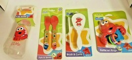 Sesame Street Beginnings Elmo Gift Set-Rattle,Bottle, Fork & Spoon, Brus... - $17.46