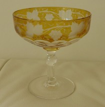 "MOSER BOHEMIAN AMBER GRAPE VINE FACETED CRYSTAL CHAMPAGNE GLASS  4 1/4"" ... - $49.00"