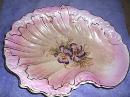 WS George vintage antique oyster shell bowl, pink, violets / pansies, gold - $26.95