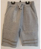Boy's Fleece Jogger Shorts Kid's Gray Knee Length Studs & Moto Fashion A... - $29.02