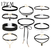 17KM® 10 pcs/set Bohemian Gothic Tattoo Choker Necklaces Set Black Lace ... - $5.99