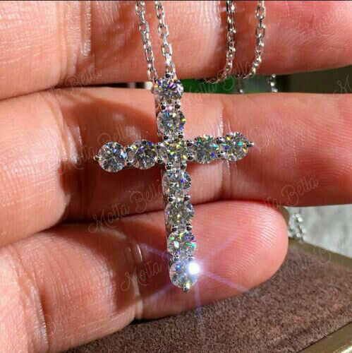 2Ct Round Cut VVS1//D Diamond Cross Pendant 14K Yellow Gold Finish Free Chain