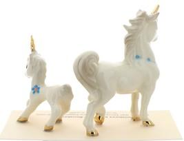 Hagen-Renaker Miniature Ceramic Unicorn Figurine Papa and Baby with Flowers Set image 2