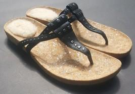 Ugg Thong Sandals Australia Deitra Black Leather Flip Flops Metal Studs 10 - €48,67 EUR