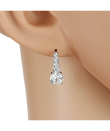 UE-Silver Tone Drop Earrings With Swarovski Style Crystals & Faux White ... - $20.99