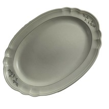 "Pfaltzgraff Heirloom Pattern 14.5"" Platter Serving Tray Dish Grey White Flower - $18.81"