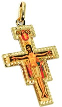 18K YELLOW GOLD FLAT SAINT DAMIANO CROSS PENDANT WITH WORKED FRAME & ENAMEL image 2