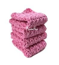 Handmade Kitchen Dish Cloths Pastel Pink Crochet Cotton Dishcloths Set of 4 - $22.50