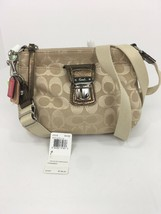 New Coach Crossbody Bag 47018 Poppy Metallic Signature Khaki Beige Bronz... - $79.19
