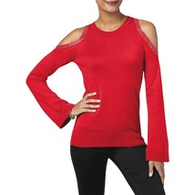 $98  Michael Kors Cotton Bell-Sleeve Cold-Shoulder Sweater Red XS - $63.26