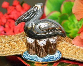 Vintage Pelican Bird Brooch Pin Sharon Scalise Porcelain Ceramic 1995 - $27.95