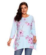 Grey Asymmetric Cut Floral Plus Size Top  - $18.29