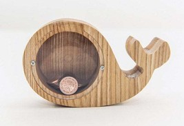 Whale money box, Solid tree money box, Wooden money box, Piggy bank - $30.00