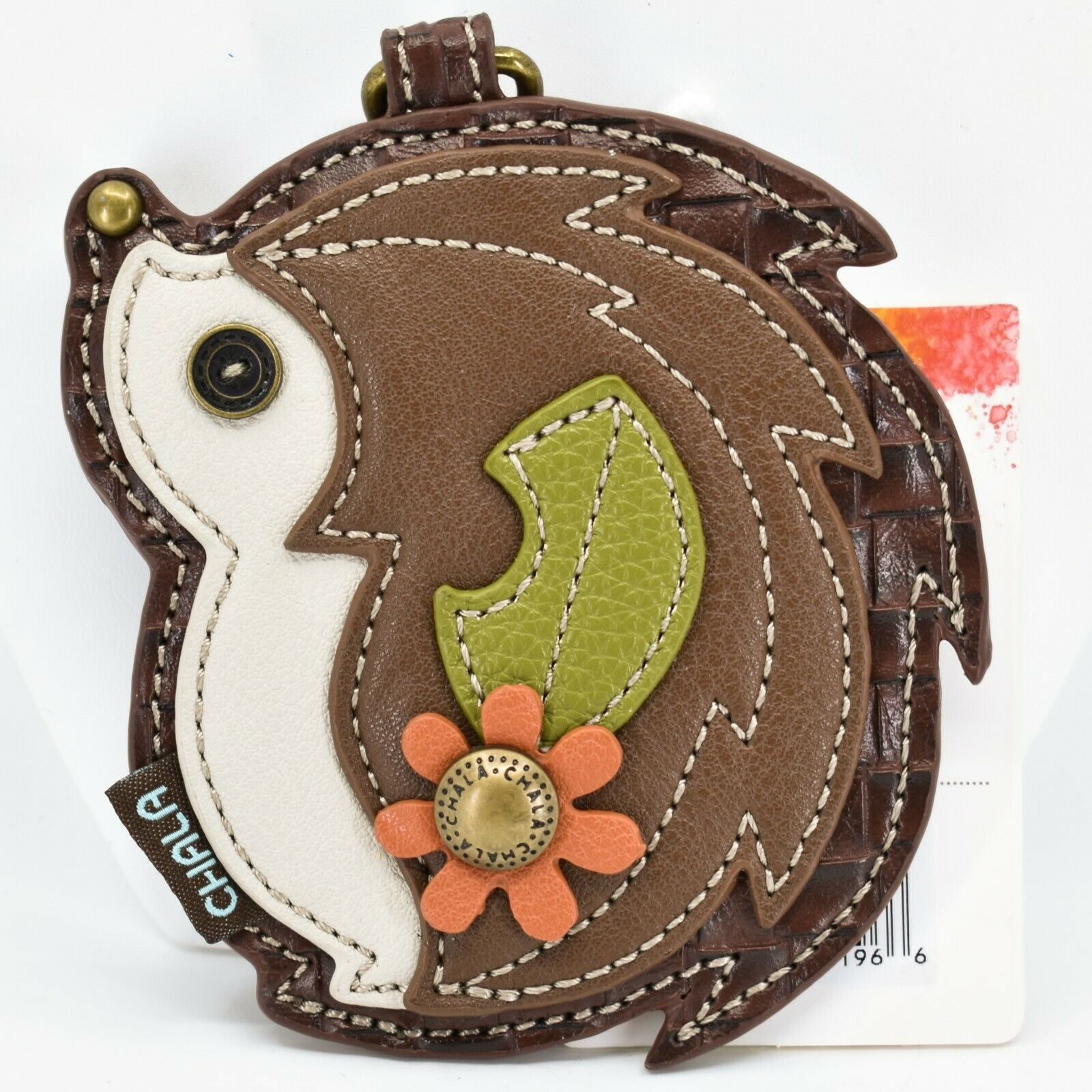 Chala Handbags Faux Leather Whimsical Hedgehog Coin Purse Key Chain Keychain