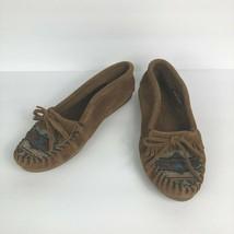 Minnetonka El Paso II Aztec 472K Brown Suede Moccasins Womens Size 7.5 - $34.62