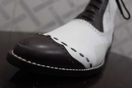 Handmade Men's White and Brown Leather High Ankle Lace Up Dress/Formal Leath image 10