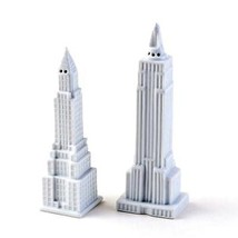 Chrysler and Empire State Building Salt Pepper Shaker Set White Ceramic ... - $24.88