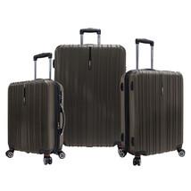 Traveler's Choice 3pc Tasmania Brown Polycarbonate Luggage Spinner Suitc... - $227.69