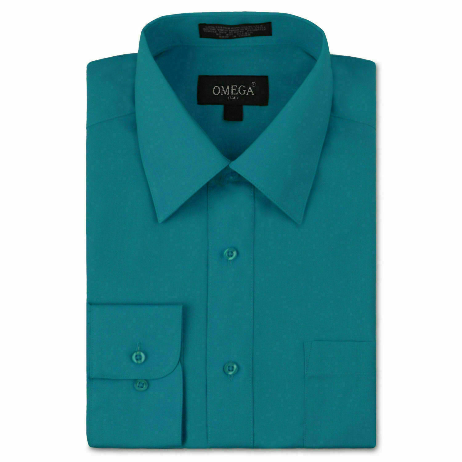 Omega Italy Men's Long Sleeve Regular Fit Teal Dress Shirt - L