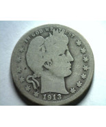 1913-D BARBER QUARTER DOLLAR GOOD G NICE ORIGINAL COIN FROM BOBS COINS F... - $11.00