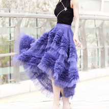 High-low Layered Tulle Skirt Outfit Plus Size Wedding Outfit Purple Tiered Skirt image 6