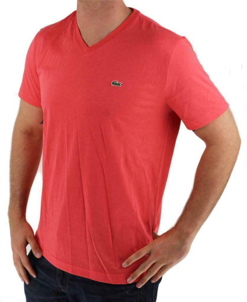 Lacoste Men's Athletic Cotton V-Neck  T-Shirt Santal