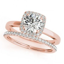 14k Rose Gold Finish 925 Solid Silver Womens Wedding Engagement Diamond Ring Set - $92.56