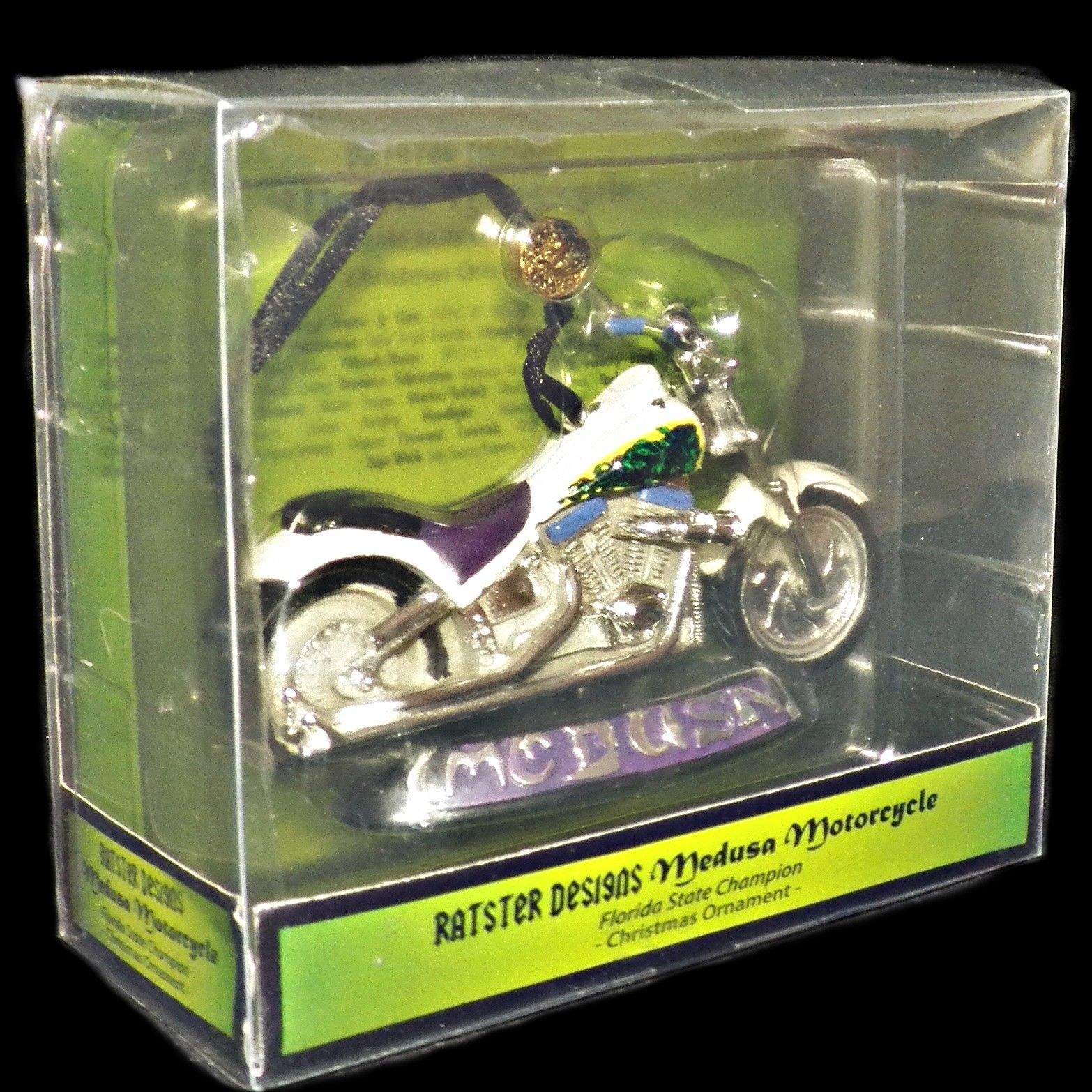 Kurt Adler Ratster Designs Medusa Motorcycle Florida Champion Xmas Ornament - $27.99