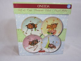 Oneida Reindeer Holiday Lot of 4 Plates 8 1/4 inches  Salad Dessert 4 Patterns - $29.69