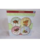 Oneida Reindeer Holiday Lot of 4 Plates 8 1/4 inches  Salad Dessert 4 Pa... - $29.69