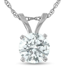 .65 Ct Diamond Solitaire Pendant Necklace in 14k White Gold Finish 925 S... - £28.95 GBP