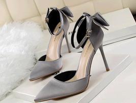 ps352 elegant ankle sandals w bowtie back, US Size 4-8.5, gray - $48.80