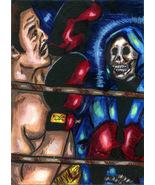 boxer skull Grimm reaper aceo original art painting miniature horror com... - $12.99