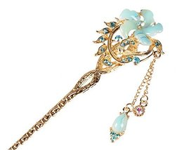 Bridal Headdress Hair Ornaments Handmade Classical Hairpin, Blue Flower - €8,93 EUR