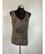 Chicos Travelers Womens Tank Top 2 L Black Taupe Antique Lace Print V-Ne... - $49.49