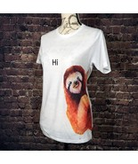 NEW Electro Threads FRIENDLY SLOTH White Unisex Crew Short Sleeve T-Shir... - $14.36