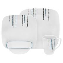 Corelle Rain Drops 16-pc. Square Dinnerware Set Break/Chip Resistant Dur... - $98.21