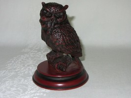 Dark Red Black Resin Owl Bird on Branch Figurine Vintage Asian Symbols - $24.74